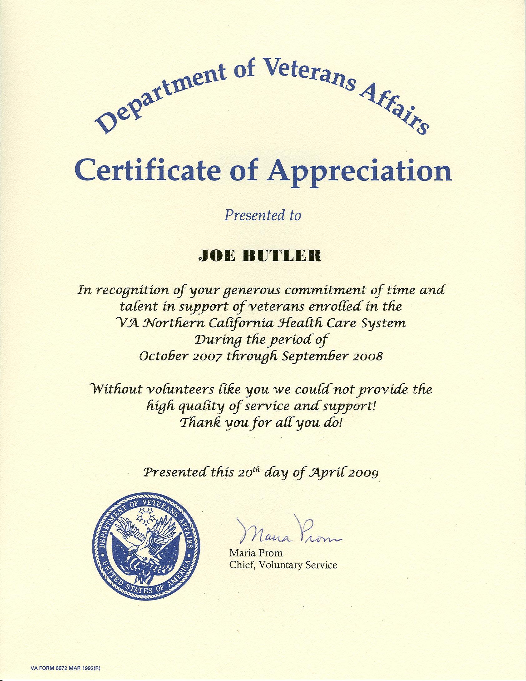 Dr joseph butler for Veterans certificate of appreciation
