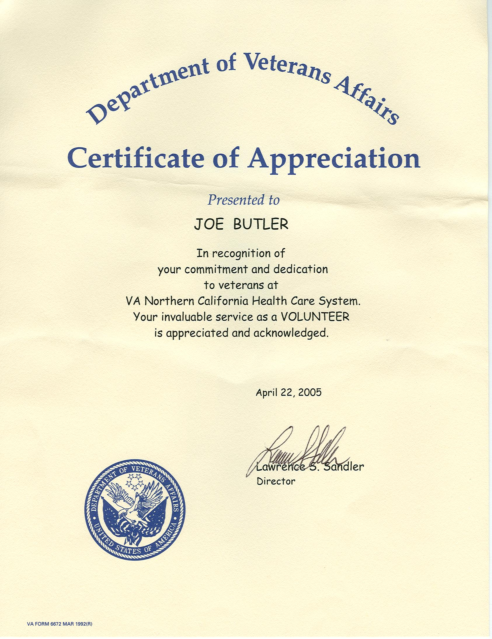 Certificate of appreciation veterans choice image certificate design and template for Veterans certificate of appreciation